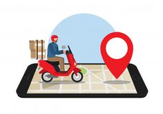 Infographic, Instagram, Greeting Cards, Delivery, Marketing, Cute, Pizza, Motorcycle, Phone