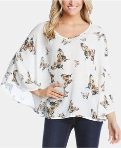 Karen Kane Butterfly-Print Poncho Top - Print S Poncho Tops, Angel Sleeve, Leopard Print Top, Daytime Dresses, Karen Kane, Plus Size Activewear, Butterfly Print, Dresses With Leggings, Baby Clothes Shops
