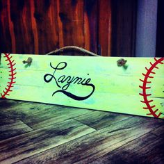 Neon yellow hand painted pallet/reclaimed wood softball sign. Can add hooks to Hold bags or hats!