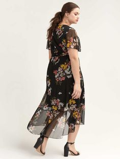 Shop online for High-Low Mesh Floral Dress with Flutter Sleeves. Find Sale-Dresses-Skirts, and more at AdditionElle Figure Flattering Dresses, Plus Size Maxi Dresses, Plus Size Outfits, Petite Fashion, Curvy Fashion, Fall Fashion, Style Fashion, Addition Elle, Stylish Plus