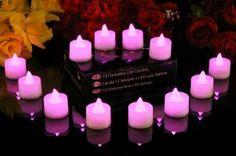 PK Green Set Of 12 Pink LED Candles, Flameless Tea Lights For Weddings, Festi...: Amazon.co.uk: Lighting