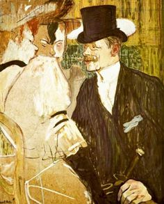 'The Englishman (William Tom Warrener at the Moulin Rouge' 1892 Henri de Toulouse-Lautrec. Oil on cardboard: x 26 in. x 66 cm) The Metropolitan Museum of Art, New York. Henri De Toulouse Lautrec, Manet, Renoir, The Englishman, Post Impressionism, Edgar Degas, Le Moulin, Claude Monet, Henri Matisse