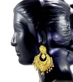 Earrings Bali set Gold Plated Beautiful Trendy Indian Bridal Fashion Jewelry   #Handmade #DropDangle