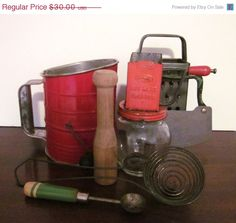 20 OFF SALE Vintage Kitchen Utensils by sweetlynetreasures on Etsy