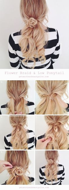 Low Ponytail & Flower Braid - 16 heat-free DIY hairstyles that let you Pretty Low Ponytail & Flower Braid - 16 heat-free DIY hairstyles that let you . Pretty Low Ponytail & Flower Braid - 16 heat-free DIY hairstyles that let you . Hair Day, New Hair, Your Hair, Hair In A Bun, Hair Down With Braid, Spring Hairstyles, Diy Hairstyles, Romantic Hairstyles, Hairstyle Tutorials
