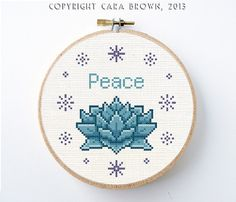 Lotus Flower Cross Stitch Pattern PDF Digital Instant Download Needlepoint Peace Gift