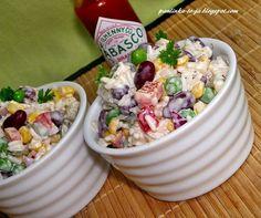 Sałatka meksykańska z ryżem Pasta Salad, Acai Bowl, Potato Salad, Oatmeal, Salads, Recipies, Food And Drink, Potatoes, Snacks
