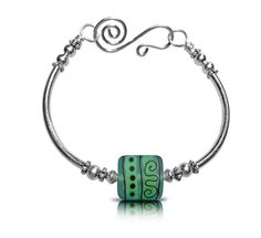 Green Sterling Silver Bangle Free Shipping One of by ToBeMeJewelry