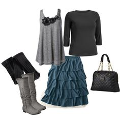 Gray, Black, and Vintage Blue, created by foglemans on Polyvore