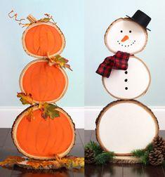 Ezt az őszi farönk szelet fa dekorációt garantáltan mindenki irigyelni fogja tőled az utcátokban,ha elkészíted, hiszen olyan szuper! Ráadásul rendkívül praktikus is, hiszen ha elmúlt az ősz egyszerűen fordítsd meg, és máris kész a hóemberes téli dekoráció / karácsonyi dekoráció! Kreatív ...