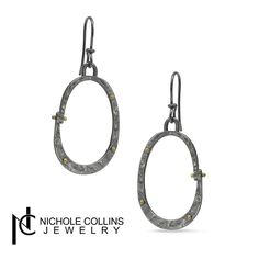 Industrial Oval Earrings with 18K Gold - Nichole Collins Jewelry