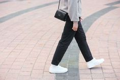 Street style: what they're wearing at the 2016 Melbourne Art Book Fair: Kathryn Pineda Occupation: graphic designer. Wearing: Uniqlo knit, Muji pants and sneakers, Prada bag.