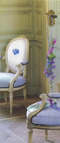 Beautiful little french chairs. Love.
