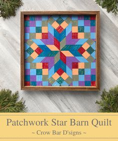 This gorgeous wooden barn quilt will brighten any wall space in your home. The Patchwork and Star quilt block pattern is bursting with colors making this wood wall art piece perfect for adding vibrant color, texture, and design to your entryway, living room, kitchen, bedroom, home office, or wherever you are looking to make a statement. Inspired by traditional Americana quilt patterns, this mosaic piece is reminicent of primitive folk art, but will easily fit into almost any decor style.