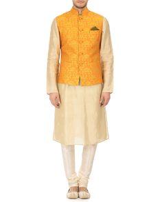 Krishna Mehta Orange Cotton Silk Embroidered Nehru Jacket