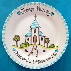 christening plate for boy - church design                                                                                                                                                                                 More