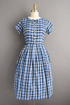 Vintage Blue Tone On Tone Striped Dress Size SmallMedium