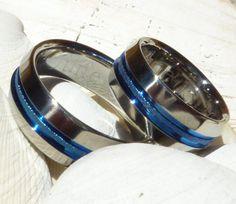 Matching Thin Blue Line Titanium Wedding by TitaniumRingsStudio