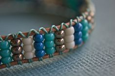 Blue Seed Bead Bracelet by treeleafjewellery on Etsy