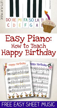 Printable Happy Birthday Easy Piano Music and step by step lesson plan on how to approach this piece and teach to kids - perfect for beginners!