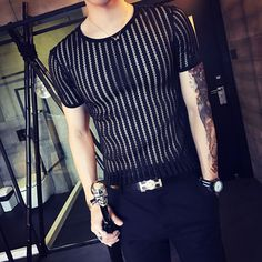 35702d61d1f 2017 Sexy Mens Shirts White Night Club Outfits Camisa Slim Fit Blouse Summer  Top Transparent Tshirts Black See Through