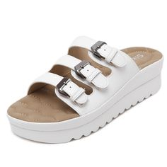 D2C Beauty Women's Casual Buckle Straps Platform Flip Flop Footbed Sandals -- Learn more by visiting the image link.