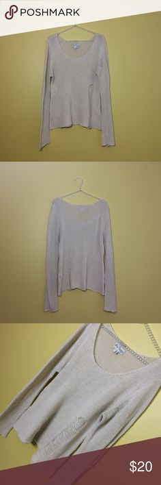 """Hot Topic Distressed Sweater Gently worn and in great overall condition! Size L and has stretch. Measurements: 25.5"""" length, 18"""" bust, 29.5"""" sleeves. Color is beige/cream. No trades. Reasonable offers please! Hot Topic Sweaters Crew & Scoop Necks"""