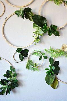 diy greenery + embroidery hoops AD