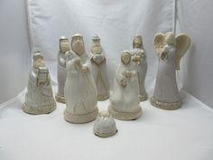 Nativity Set Pottery Folk Art 8 pcs Roman Inc 2004