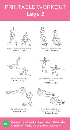 Legs 2 – my custom workout created at WorkoutLabs.com • Click through to download as printable PDF! #customworkout