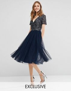 Maya V Neck Midi Tulle Dress with Tonal Delicate Sequins 100% polyester $119,00