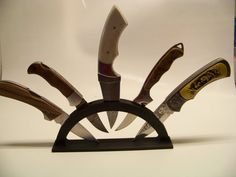 Knife Display Stand  Holds Five Knives ABS Plastic One Piece Black Color Made in the USA !