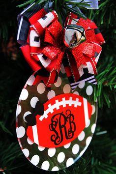 Football Monogram Ornament Personalized