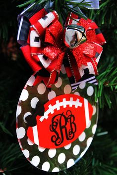 Football Monogram Ornament Personalized