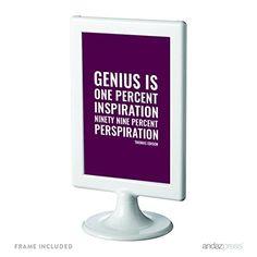 Andaz Press Motivational Framed Desk Art, Genius is one percent inspiration, ninety-nine percent perspiration, Thomas Edison, 4x6-inch Inspirational Success Quotes Gift Print, 1-Pack, Includes Frame Andaz Press http://www.amazon.com/dp/B019HFK50S/ref=cm_sw_r_pi_dp_z.qDwb1D5ZN06
