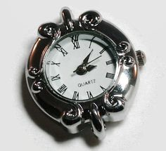1 Quartz Watch Face, round shaped Silver Tone- craft supplies, jewelry making W35S by AndreasArtJewelry on Etsy