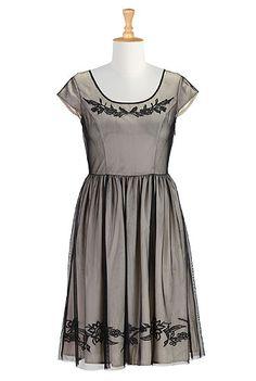 #eshakti #embellished #tulle #dresses #gray #black #bridesmaids #partydress