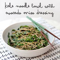 Kale noodle bowl with avocado miso dressing - healthy vegetarian lunch or dinner idea