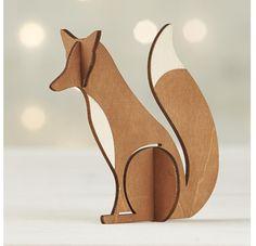 Laser-Cut Fox wood figure - great for a shelf