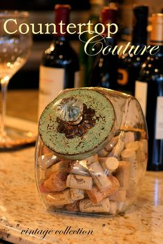 Vintage Style Hand Painted Cookie Jar  by CountertopCouture, great way to display wine cork collection!