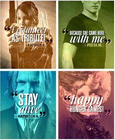 Katniss Everdeen, Peeta Mellark, Haymitch Abernathy, Effie Trinket, The Hunger Games