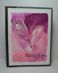 handmade card from My Simple Escape ... emboss resist ... white embossed peacock feathers .. watercolor was in purple and rose .. luv the way the colors interact with the embossed lines ...