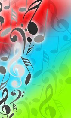 Muziek noten met diverse kleuren achtergrond #muziek #music                                                                                                                                                                                 More
