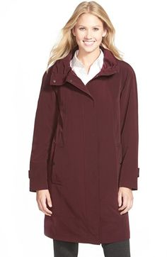 Gallery Ruched Collar A-Line Raincoat (Regular & Petite) available at #Nordstrom