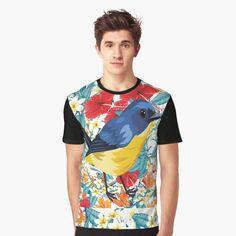 'Drossel Frühling Blumenhintergrund' Grafik T-Shirt von Drossel, Blue Bird, Designs, Animal, Mens Tops, Fashion, Impressionism, Artist, Moda