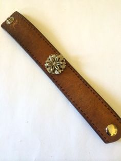NEW LISTING Leather Bracelet with Vintage by outoftheblueVINTAGES, $35.00