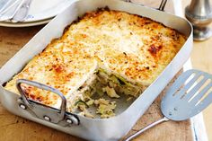 This spring-flavoured crunchy-topped chicken lasagne makes a great change from the classic Italian version.