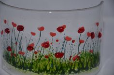 Everyone loves poppies, including me, which inspired me to paint my variation on a poppy field. Before I fire the piece I hand paint some of the detail then the piece is made by fusing different coloured glass together at a very high temperature in a kiln. The piece is then bent into a curve shape using a mould. It is approximately 8cm (h) x 16cm (l) on a diameter curve of approximately 14cm These curves look great on a window sill allowing the light to really shine through, or on a shelf…