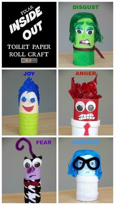 Pixar Inside Out Toilet Paper Roll Craft for Kids - Movie Crafts