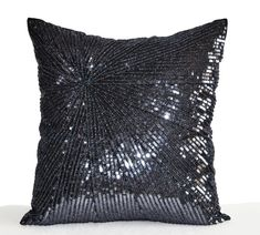 Decorative Throw Pillow Cover Silver Grey Sequin by AmoreBeaute